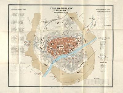 Plan der Stadt Ulm, Alt- und Neu-Ulm, deutsche Bundes-Festung