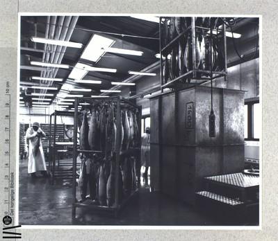 Interiør fra fabrik. Fiskeindustri