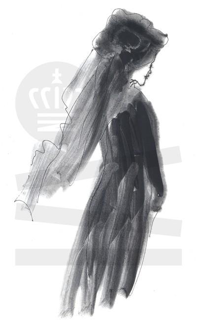 Kvinde med hat og slør
