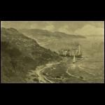 A miramarei kastély a hegyoldalról nézve