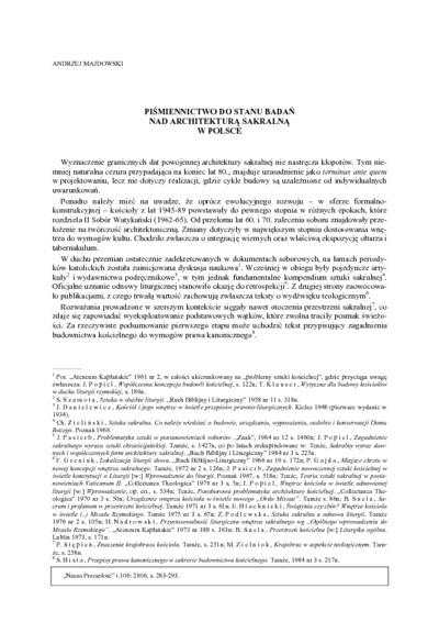 Piśmiennictwo do stanu badań nad architekturą sakralną w Polsce