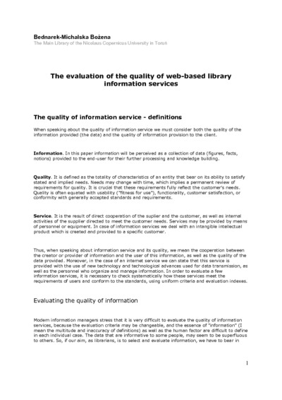 The evaluation of the quality of web-based library information services