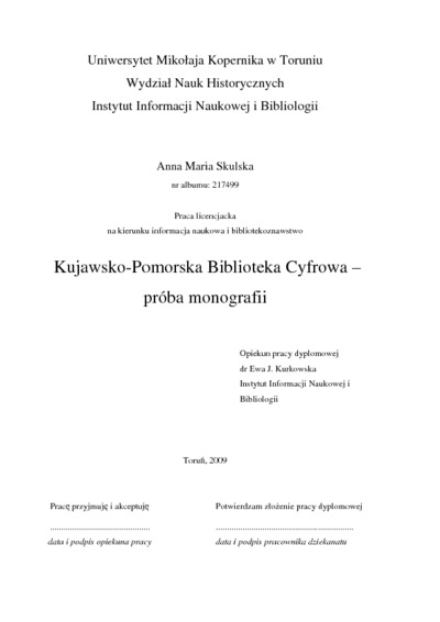 Kujawsko-Pomorska Biblioteka Cyfrowa - próba monografii