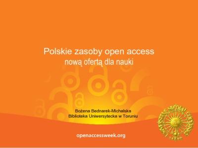 Polskie zasoby open access nową ofertą dla nauki