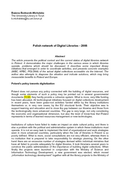Polish network of Digital Libraries - 2008