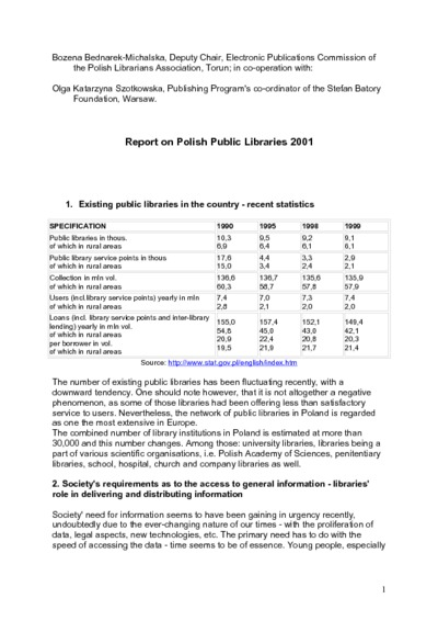 Report on Polish Public Libraries 2001