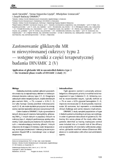 Application og gliclazide MR in uncontrolled diabets type 2 - tje treatment phase results of DinamiC 2 study (IV)