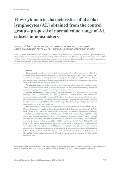 Flow cytometric characteristics of veolar lympohocytes (AL) obtained from the control group - proposal of normal value range of AL substets in nonsmokers