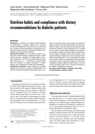 Nutrition habits and compliance with dietary recommendations by diabetic patients