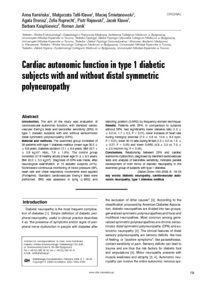 Cardiac autonomic function in type 1 diabetic subjects with and without distal symmetric polyneuropathy