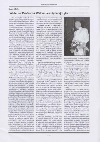 Jubileusz Profesora Waldemara Jędrzejczyka