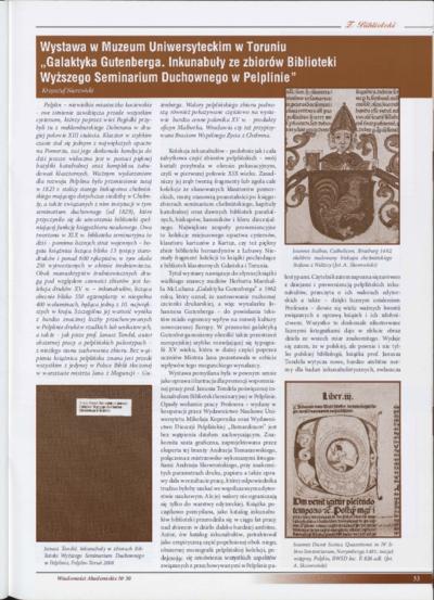 """Wystawa w Muzeum Uniwersyteckim w Toruniu. """"Galaktyka Gutenberga. Inkunabuły ze zbiorów Biblioteki Wyższego Seminarium Duchownego w Pelplinie"""""""