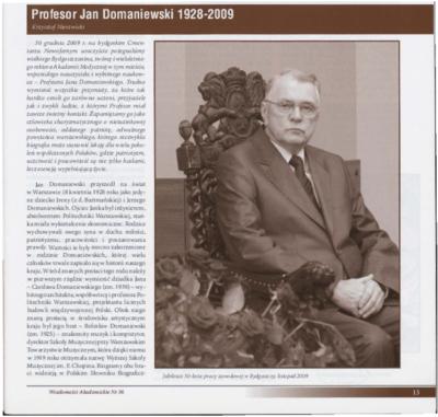 Profesor Jan Domaniewski 1928-2009