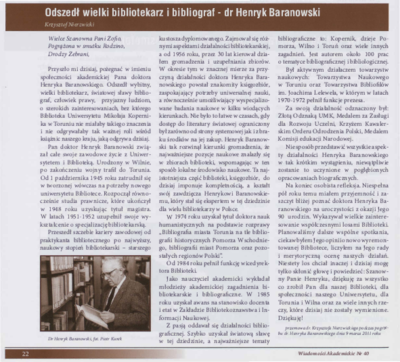 Odszedł wielki bibliotekarz i bibliograf - dr Henryk Baranowski
