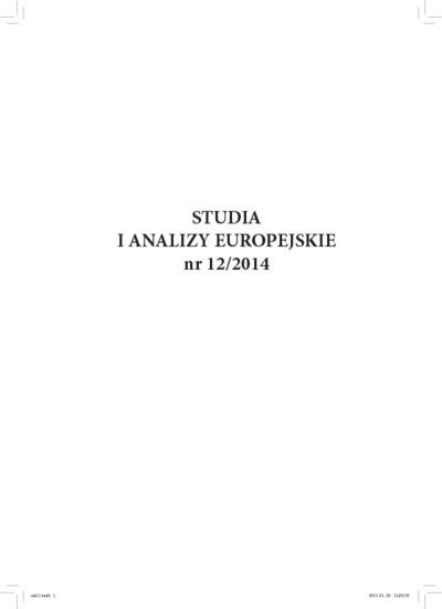 Studia i Analizy Europejskie: rocznik naukowy. Nr 12/2014