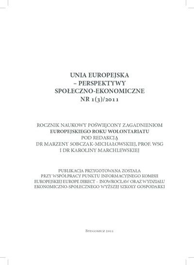 Unia Europejska - Perspektywy Społeczno-Ekonomiczne: rocznik naukowy. Nr 1(3)/2011