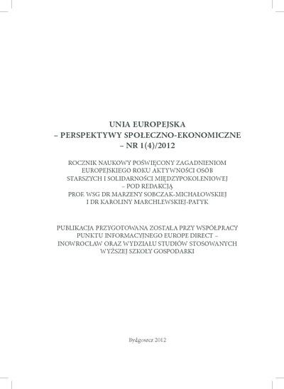 Unia Europejska - Perspektywy Społeczno-Ekonomiczne: rocznik naukowy. Nr 1(4)/2012