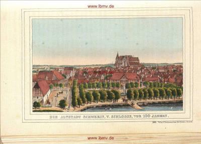 Schwerin, Altstadt von Schloss gesehen vor 100 Jahren