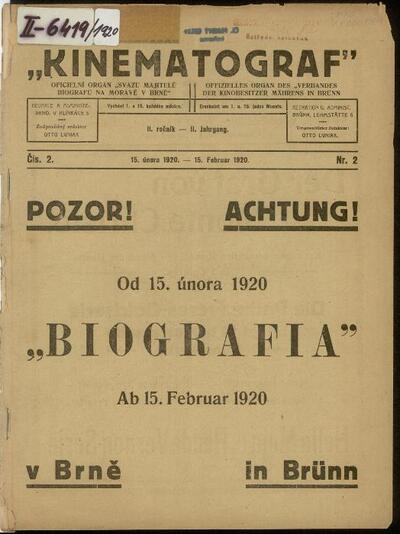 Kinematograf: oficielní orgán Svazu majitelů biografů na Moravě v Brně 2/1920