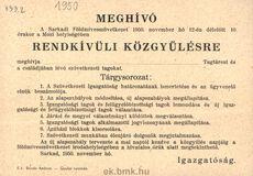 Sarkadi Földmívesszövetkezet Meghívója 1950.