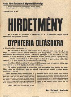Felhívás Dyphteria védöoltásra 1950. oktober 27