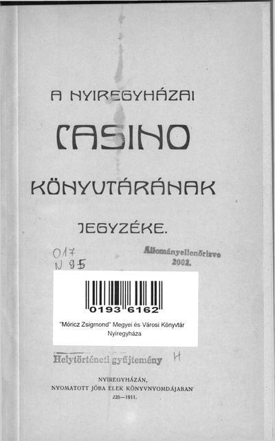 A nyíregyházai Casino könyvtárának jegyzéke