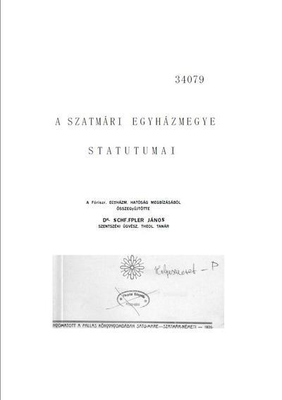 A Szatmári egyházmegye statutumai
