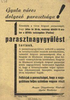 A Magyar Függetlenségi Népfront Gyulai Bizottsága parasztnagygyűlést tart 3c52c0b526