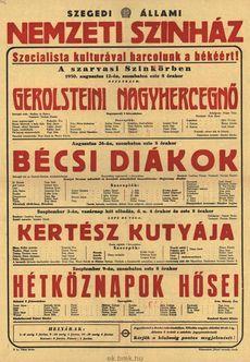Szegedi Állami Nemzeti Színház programjai augusztus 12-szeptember 9-ig