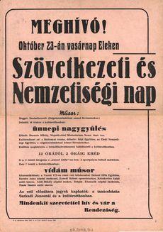Meghívó! Október 23-án vasárnap Eleken. Szövetkezeti és Nemzetségi nap
