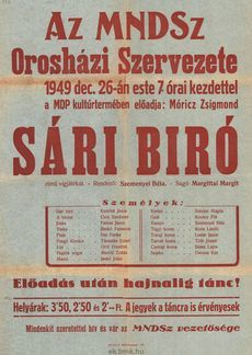 Az MNDSZ meghívója 1949. december 16.