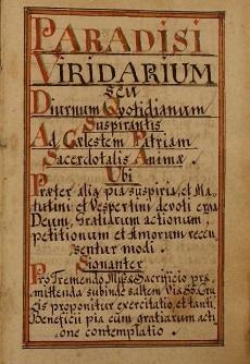 Paradisi Viridarium Seu Diurnum Quotidianum