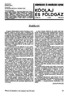 Bányászati és Kohászati Lapok Kőolaj és Földgáz 1970. évfolyam 4. szám