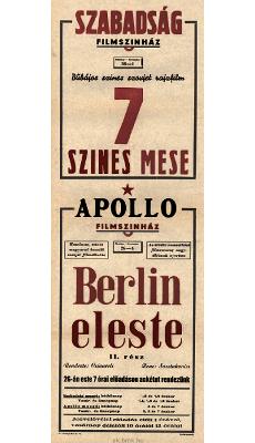 Szabadság és Apollo Filmszínház programjai 1949. október 26-november 4-ig