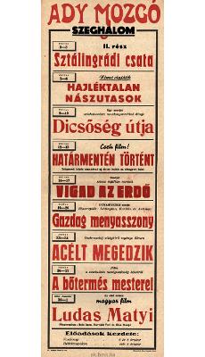 Ady Mozgó programjai 1949 július 2-augusztus 1-ig