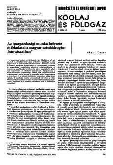 Bányászati és Kohászati Lapok Kőolaj és Földgáz 1970. évfolyam 7. szám