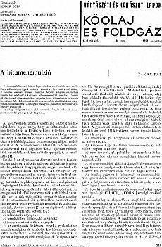 Bányászati és Kohászati Lapok Kőolaj és Földgáz 1971. évfolyam 8. szám