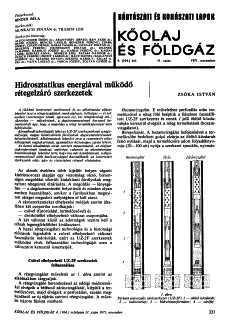 Bányászati és Kohászati Lapok Kőolaj és Földgáz 1971. évfolyam 11. szám