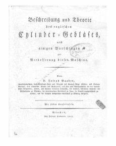 Beschreibung und Theorie des englischen Cylinder-Gebläses