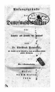 Anfangsgründe der Dampfmaschinenlehre für Techniker und Freunde der Mechanik : Mit 9 Steindrucktafeln