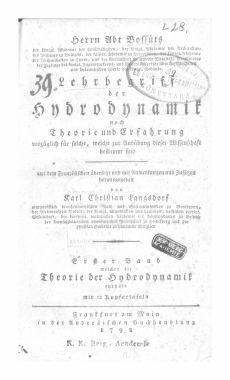 1. Bd. Herrn Abt Bossuts Lehrbegriff der Hydrodynamik