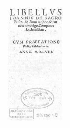 Libellus Ioannis de Sacro de anni ratione, seu ut uncatur uulgo, Computus Ecclesiasticus