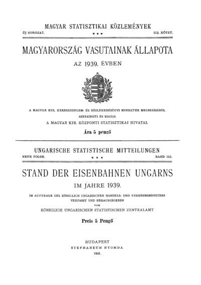 Magyarország vasutainak állapota az 1939. évben