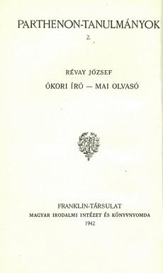 Ókori író-mai olvasó