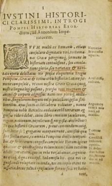 Iustini historici clarissimi in Trogi Pompei historias exordium