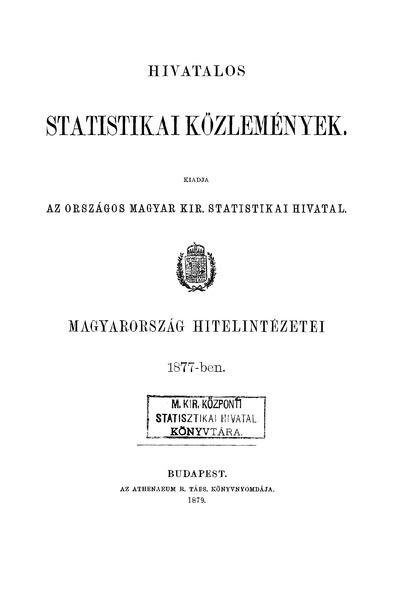 Magyarország hitelintézetei 1877-ben