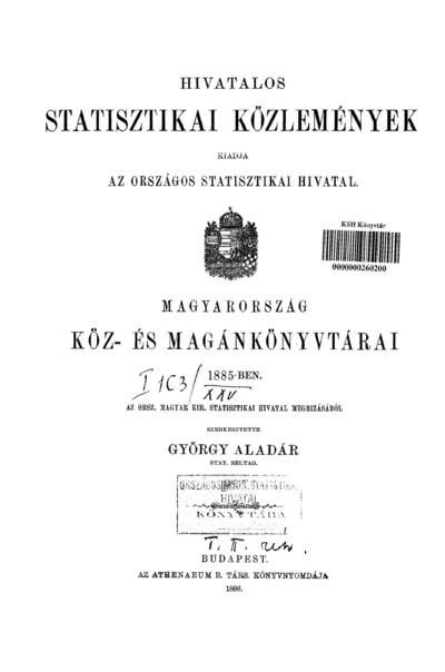 Magyarország köz- és magánkönyvtárai 1885-ben