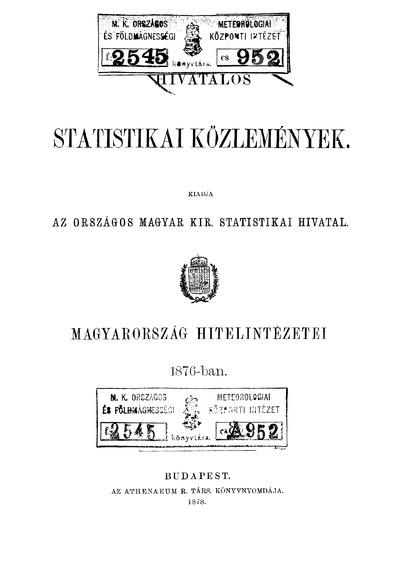 Magyarország hitelintézetei 1876-ban