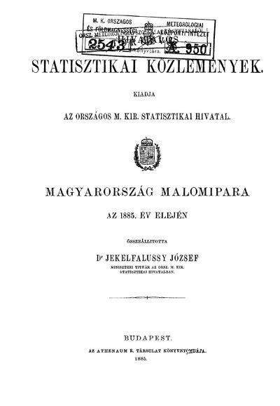 Magyarország malomipara az 1885. év elején
