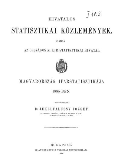 Magyarország iparstatisztikája 1885-ben
